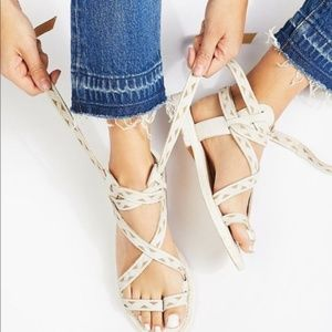 Free People White Lace Up Geo Plains Sandals